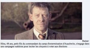 Rainer-Hoss petit fils de Rudolph Hoss lutte contre les néo-nazis