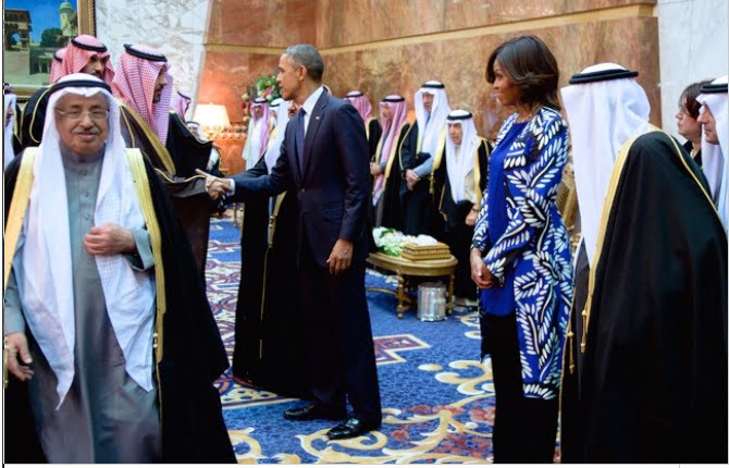 Michele Obama cheveux aux vents en Arbie Saoudite