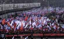 Manifestation à Moscou , assassinat de Boris Nemtsov