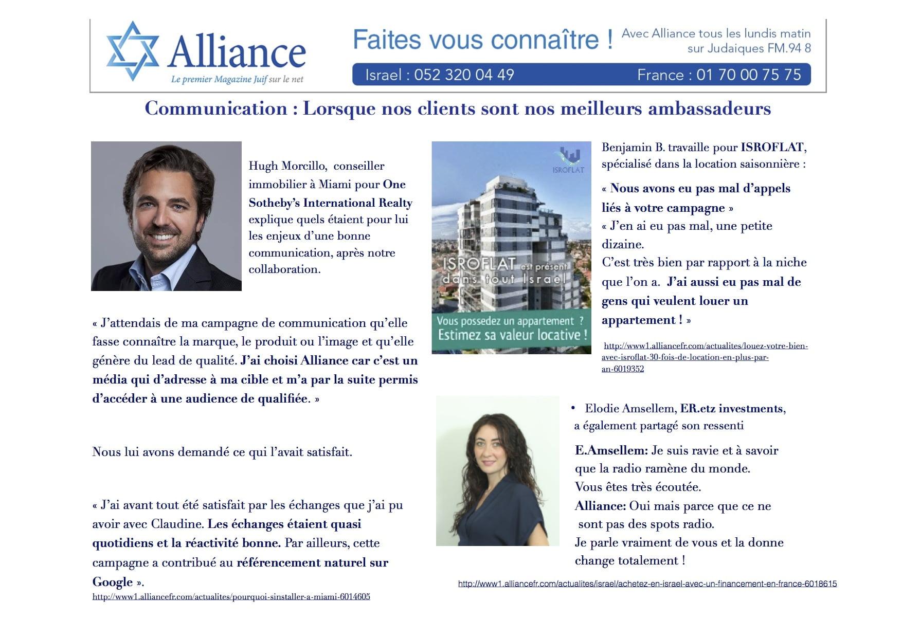La communication avec alliance, nos clients sont nos ambassadeurs
