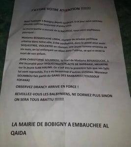 tract de Bobigny l'affaire de Linda Benakouche