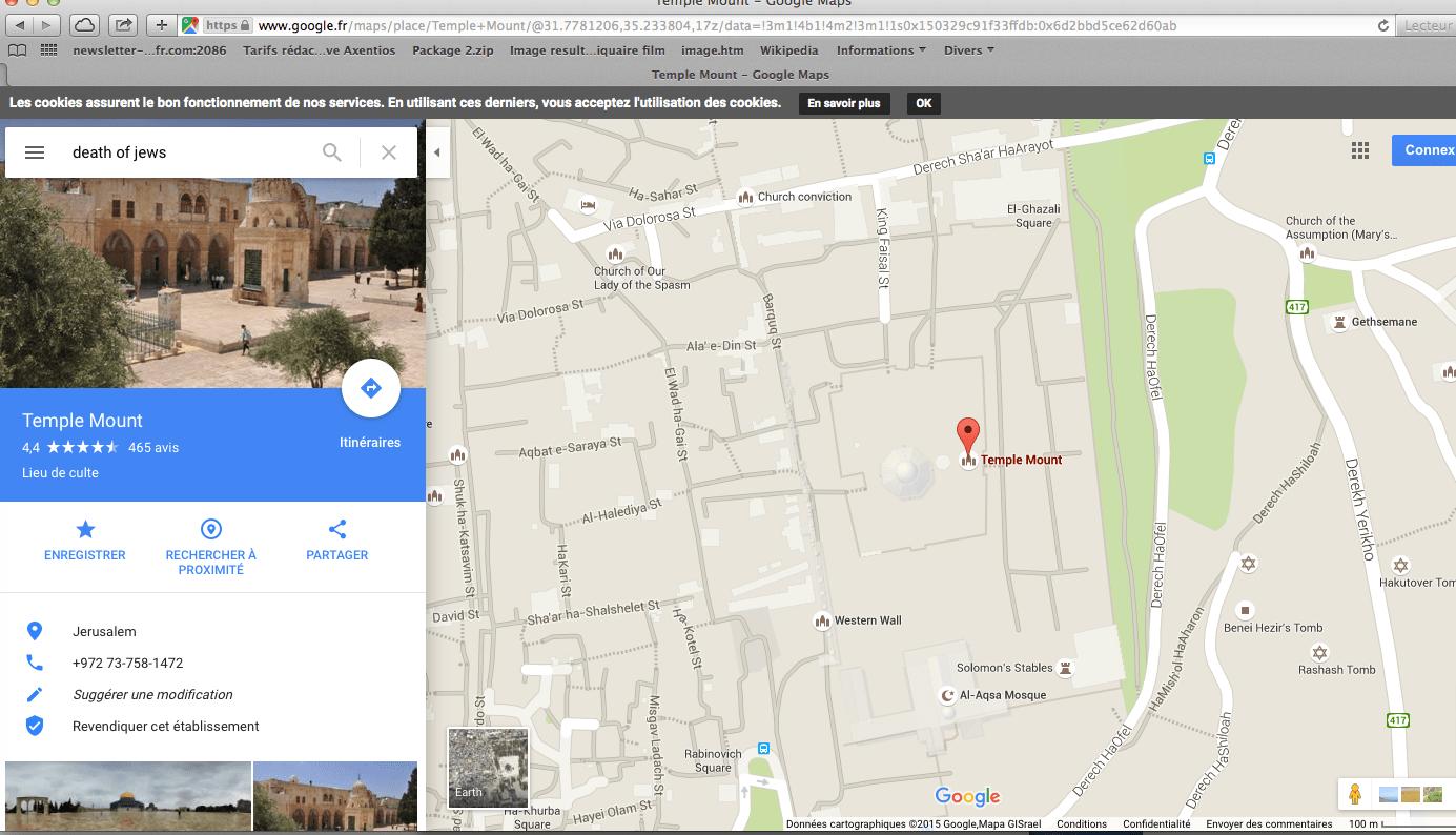 Google maps affiche mort aux juifs au mont du temple