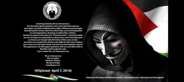 7 Avril 2016, Cyberattaque d'Anonymous contre Israël