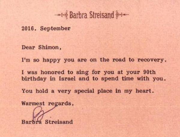 Le message de Barbra Streisand adressé à Shimon Peres