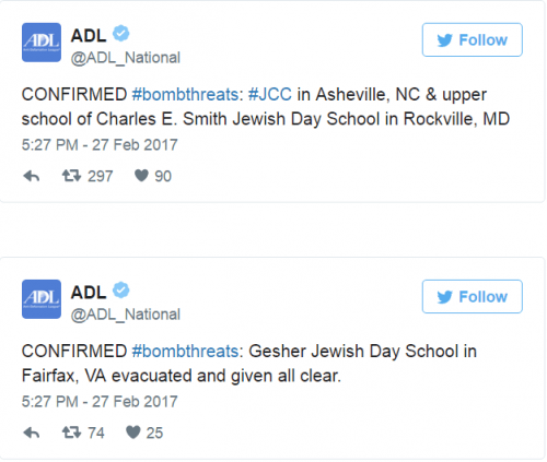 Tweets émanant de la Ligue Anti-Diffamation