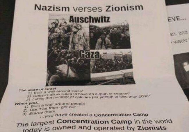 Des affiches comparant Gaza à Auschwitz distribuées sur un campus de l'Illinois
