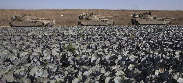 Des chars israeliens en poste à l'extérieur de la bande de Gaza pendant l'opération Barrière Protectrice