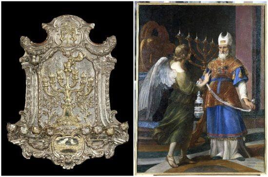"""Lampe en argent gravé et repoussé Di Segni, 1763, à gauche, et """"L'Annonciation à Zacharie"""" par Andrea Sacchi, 1636-1649 (photo de la Lampe de Hanoukka: Musée juif de Rome, peinture Sacchi: Musée du Vatican)"""