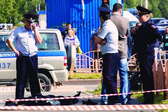 La scène de l'attentat en Russie. Les agresseurs sont en fuite