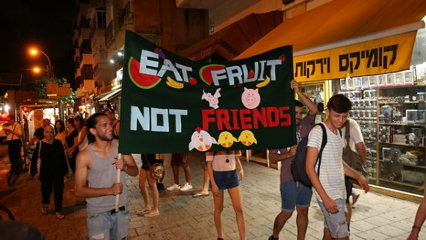 Participants à la marche Veganfriendly à Tel Aviv