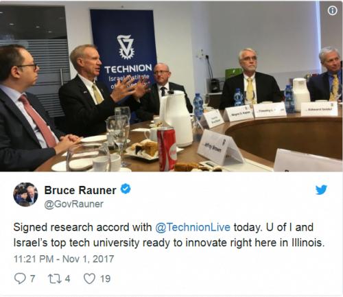 L'un des tweets enthousiastes du gouverneur Rauner