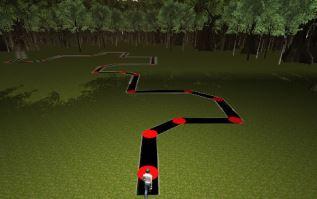 L'avatar du sujet est visible au début du chemin virtuel 3D.