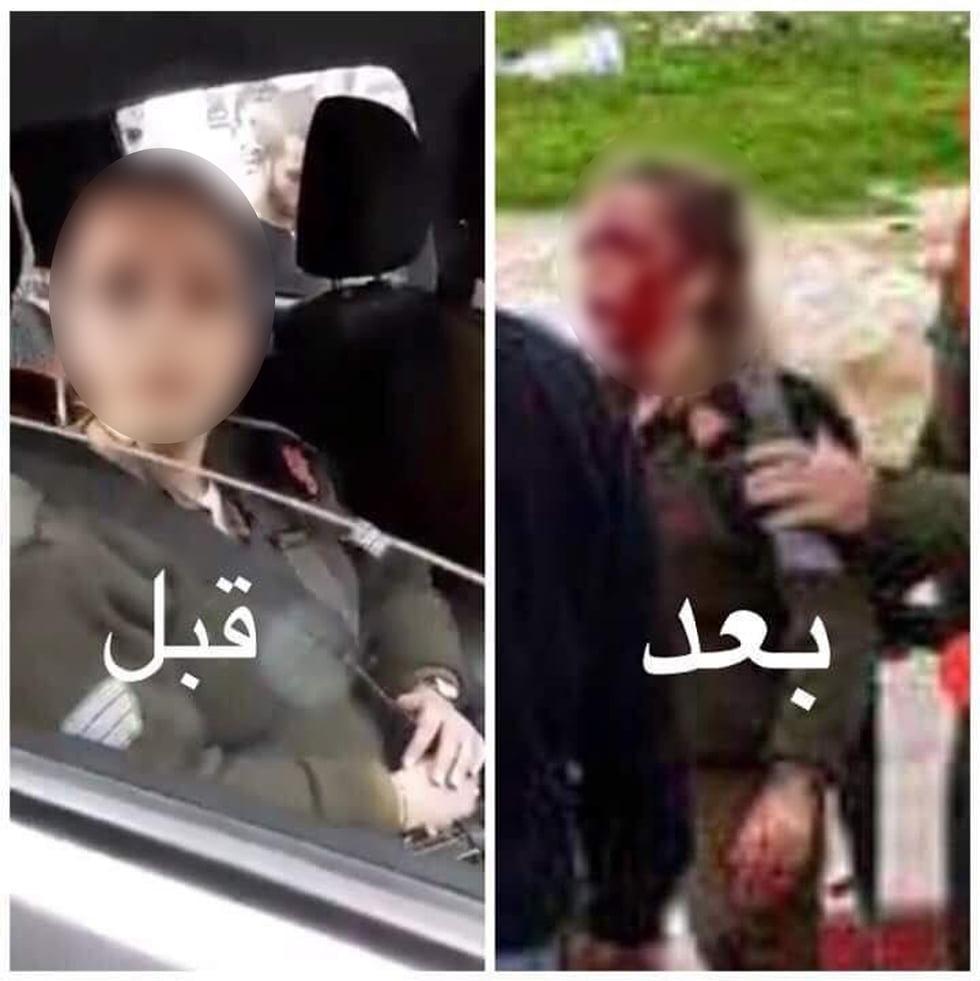 a fenêtre a été brisée, l'arme a été volée, et le soldat a saigné au visage: Dans la documentation de Jénine, où deux soldats dans un véhicule militaire sont entrés par erreur lundi, la tentative de lynchage est apparue en deux. Dans la documentation, on voit des Palestiniens jeter des pierres et des chaises, pendant que le soldat crie et saigne au visage après avoir été blessée par un candélabre blessé. Le soldat était légèrement à modérément blessé. Un policier palestinien semble essayer de les protéger avec un fusil tiré et même tire en l'air pour éloigner la foule et protéger les soldats. Les Palestiniens ont distribué les documents des deux hommes, un soldat de carrière et un soldat en service régulier.