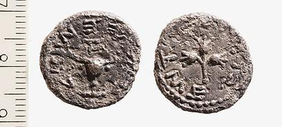 Une pièce d'un Demi-Shekel datant du début de la Grande Révolte contre les Romains