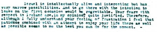 Une partie de la lettre d'Einstein adressée à Bohm