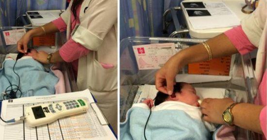 La petite-fille de Raffi Rembrand est testée avec le dispositif OAE peu de temps après sa naissance. Courtoisie.