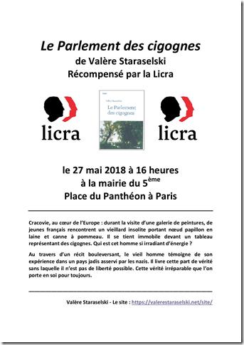 Le Parlement des cigognes récompensé par le prix de la LICRA