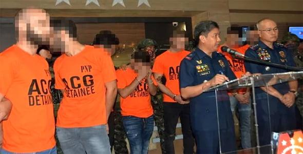 Les arrestations aux Philippines. Photo: Sun Star Manila