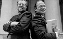 "Dave Patterson, right, and John Hennessy in the early 1990s. The men won the Turing Award for their pioneering work on a computer chip design that is now used by most of the tech industry.   (Shane Harvey) John Hennessy, left, and David Patterson, right, pose after the publication of their textbook ""Computer Architecture: A Quantitative Approach"" circa 1990. (© Shane Harvey)"