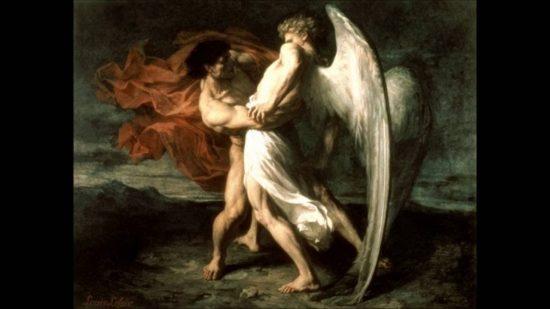 La lutte de Jacob avec l'ange d'Alexandre Louis Leloir