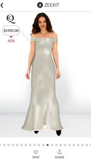 Une capture d'écran de l'application Zeekit, avec une robe d'Alexander McQueen