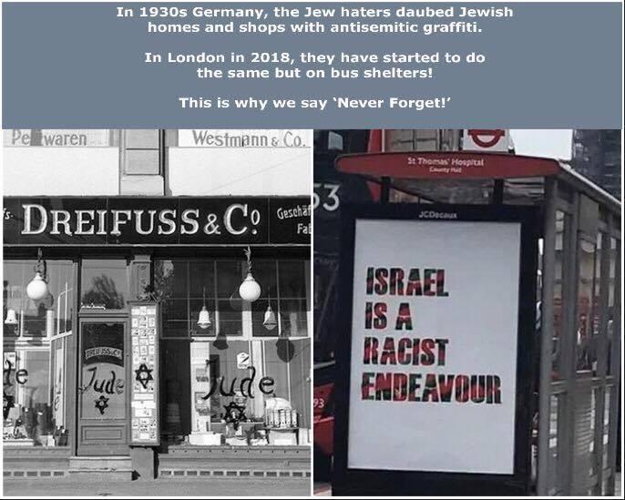 Affichage antisioniste dans les abris de bus à Londres