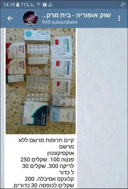 Une boite d'OxyContin pour 250 shekel