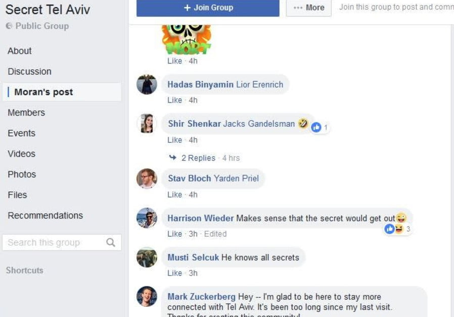 MARK ZUCKERBERG REJOINT LE GROUPE SECRET TEL AVIV FACEBOOK