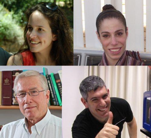 Dans le sens des aiguilles d'une montre, en partant du haut à gauche, les chercheurs Maor Ram-On, Rona Shaharabani, Roy Beck et YeshayahuTalmon. Photo gracieuseté de l'Institut Weizmann des sciences