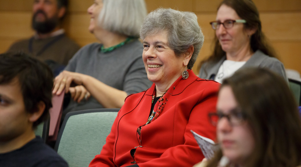 Joyce Antler enjoys the two-day conference at Brandeis University honoring her contributions to empowering women, October 2015. (Heratch Ekmekjian/Brandeis University)