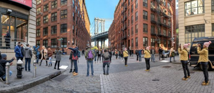 """DUMBO Iconic View, Brooklyn, NY; October 2018;  40°42'11.19""""N    73°59'22.81""""W"""