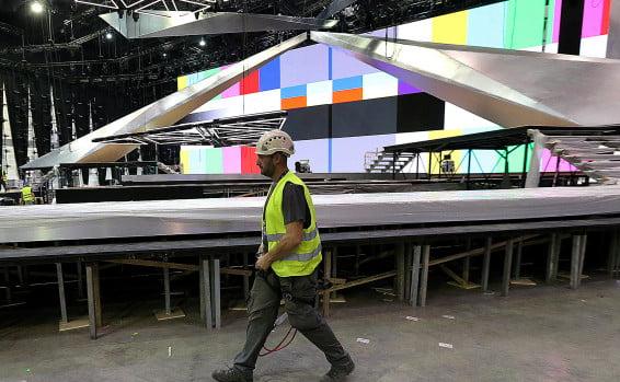 Travaux pour la mise en place du Concours Eurovision de la chanson au alais des expositions // Photo: Koko