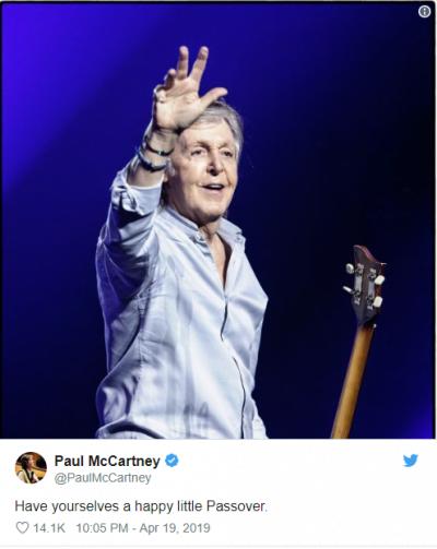 Paul McCartney a adressé ses vœux à la communauté juive