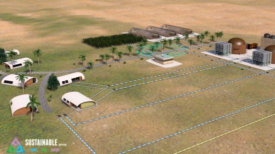 Village in a Box sera alimenté par l'énergie solaire et éolienne renouvelable, avec des batteries lithium-ion pour le stockage d'énergie et un générateur de biodiesel pour la sauvegarde.