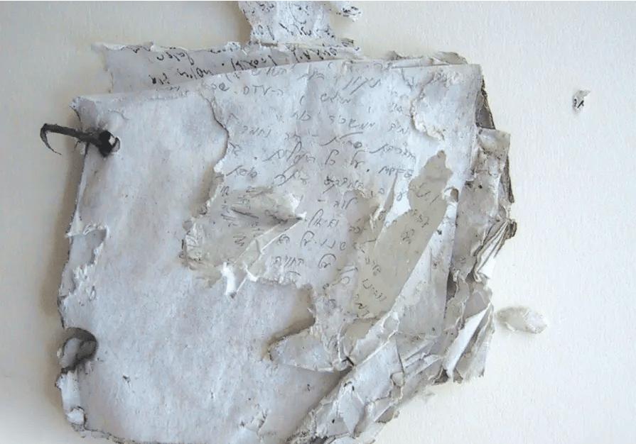 L'état du journal lors de sa découverte en 2003