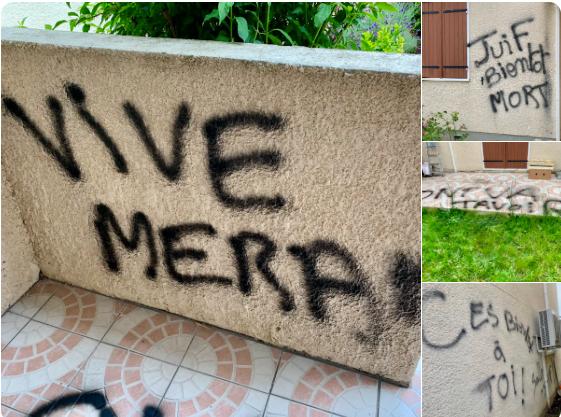 tags antisémite sur les murs de la maison d'une des mères des victimes de Merah