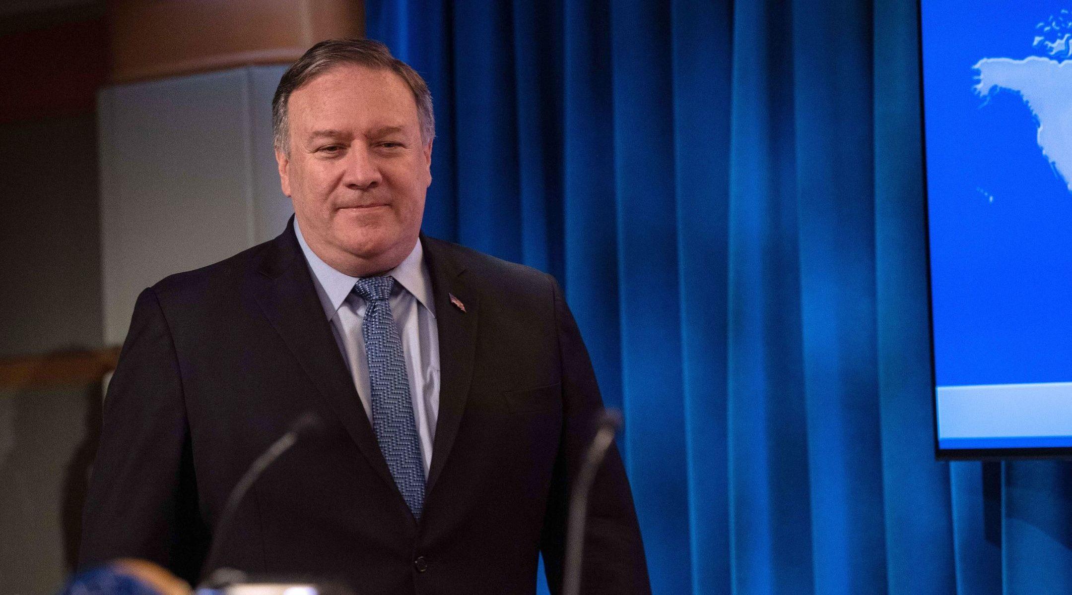 Le secrétaire d'État américain Mike Pompeo arrive le 21 juin 2019 pour présenter le Rapport sur la liberté de religion dans le monde, au Département d'État de Washington, le 21 juin 2019. (Photo de NICHOLAS KAMM / AFP) (NICHOLAS KAMM / AFP / Getty Images)