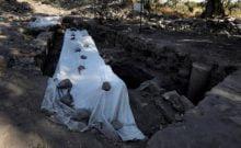 Vue générale prise le 6 août 2017 des fouilles archéologiques menées dans le nord d'Israël à la recherche du lieu de naissance de Saint-Pierre