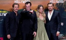 "Director Quentin Tarantino and cast members Brad Pitt, Leonardio di Caprio and Margot Robbie pose as they arrive for the Berlin premiere of ""Once Upon a Time in Hollywood"",in Berlin, Germany. (photo credit: REUTERS/FABRIZIO BENSCH)"