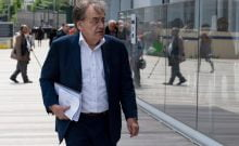 "French philosopher Alain Finkielkraut arrives at the courthouse in Paris on May 22, 2019 for the trial of a man accused of jeered and called him a ""dirty Zionist"" on the sidelines of a ""yellow vests"" protest in Paris last March 16. (Photo by - / AFP)"