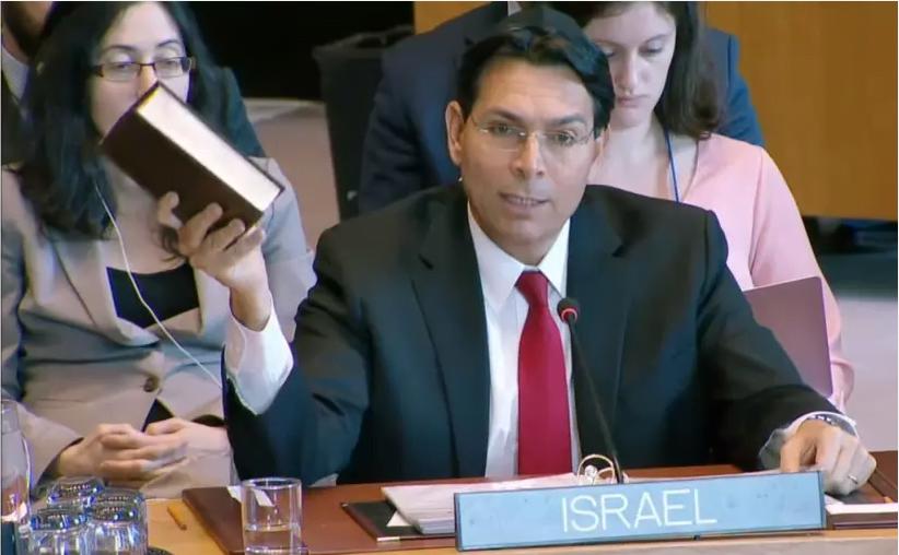 """""""Ceci est l'acte de notre pays"""", a déclaré Danny Danon, ambassadeur d'Israël aux Nations Unies, lors de la lecture de la Bible au Conseil de sécurité du 29 avril 2019."""