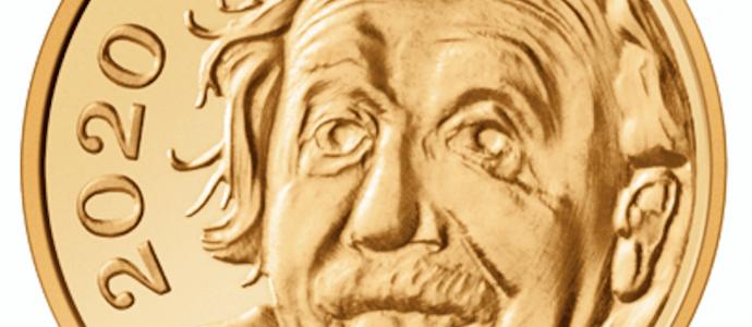 Albert Einstein, physicien juif, frappé sur une pièce d'or suisse