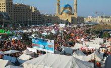 Des milliers de manifestants expriment leur soutien au Hezbollah à Beyrouth, au Liban, le 10 décembre 2006. (Wikimedia Commons)