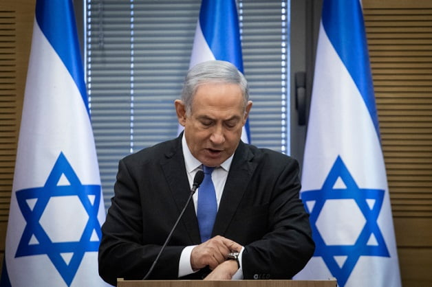 Prime Minister Benjamin Netanyahu speaks during a meeting of the Right-wing parties bloc at the Knesset, the Israeli parliament in Jerusalem on November 20, 2019. Photo by Hadas Parush/Flash90 *** Local Caption *** ???? ???? ??????  ????? ???? ??? ?????? ?????? ?????? ?????? ????? ????? ?????? ?????? ?????