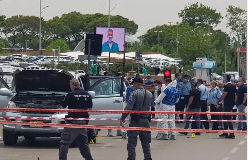 attaque au couteau devant l'hopital de Tel aviv en Israel sheba hopital