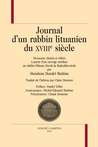 Livre juif : Journal d'un rabbin lituanien