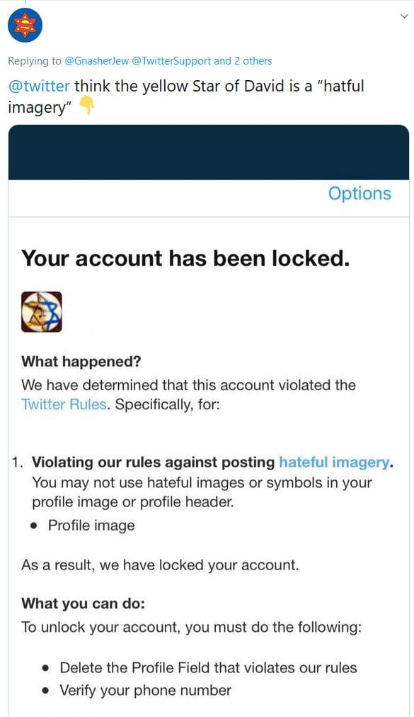 Twitter supprime tous les comptes qui affichent une étoile de David