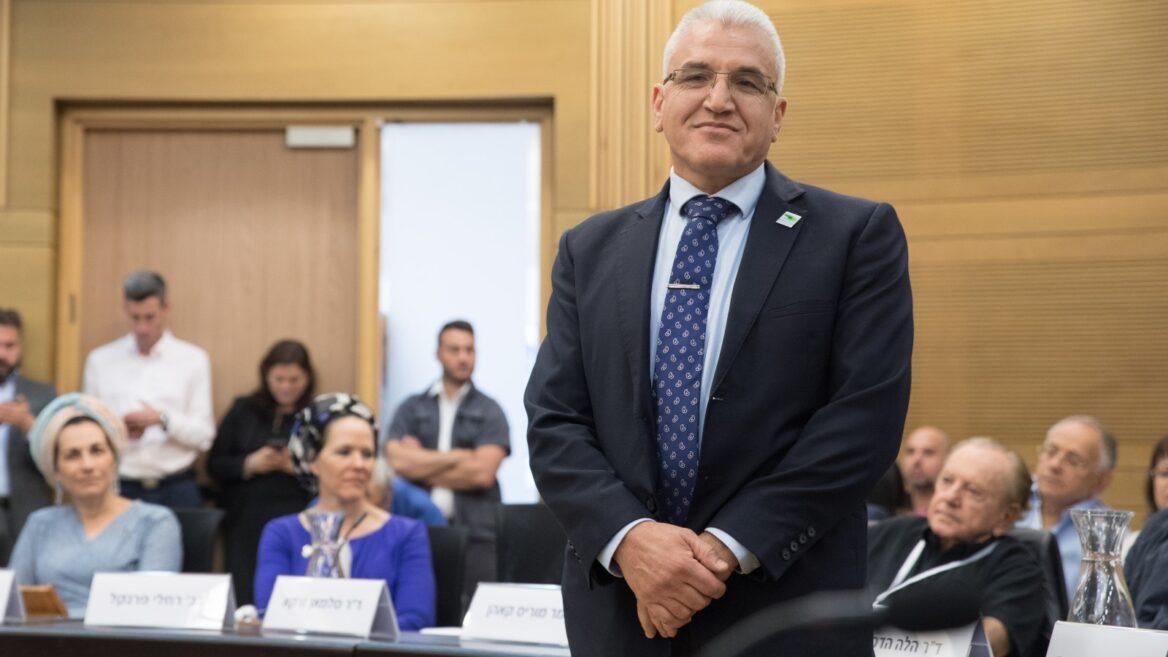 Le Dr Salman Zarka assiste à une cérémonie à la Knesset en l'honneur des 12 briquets de la 71e cérémonie d'État du Jour de l'Indépendance, 2019. Photo de Noam Revkin Fenton / Flash90