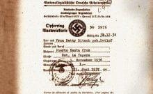 Le document révélé par le centre Simon Wiesenthal de lutte contre l'antisémitisme, daté de la fin des années 30 et du début des années 40, contient les noms de 12 000 personnes et entreprises attachées à la branche locale du parti nazi en Argentine.• Crédits : Centre Simon Wiesenthal