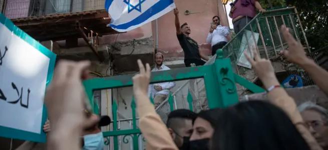 Manifestation contre l'évacuation des familles palestiniennes de Sheikh Jarrah, le mois dernier